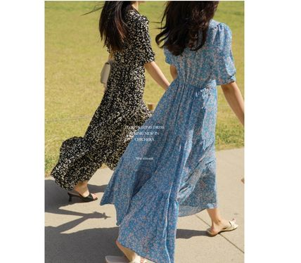 Flower Patterns Casual Style Maxi A-line Flared V-Neck Long