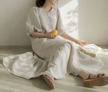Casual Style Maxi A-line Linen Flared V-Neck Cropped Plain