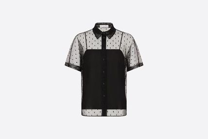 Christian Dior Dots Casual Style Short Sleeves Elegant Style