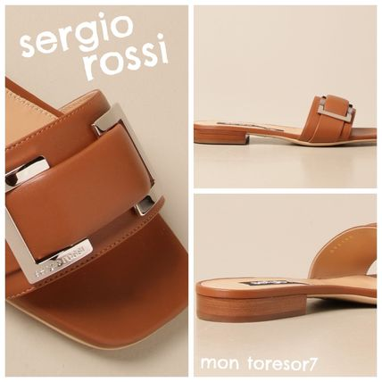Open Toe Casual Style Plain Leather Logo Sandals