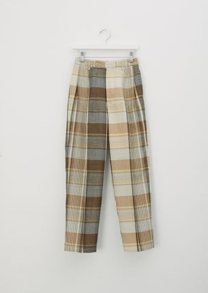 Other Plaid Patterns Stripes Wool Elegant Style Pants