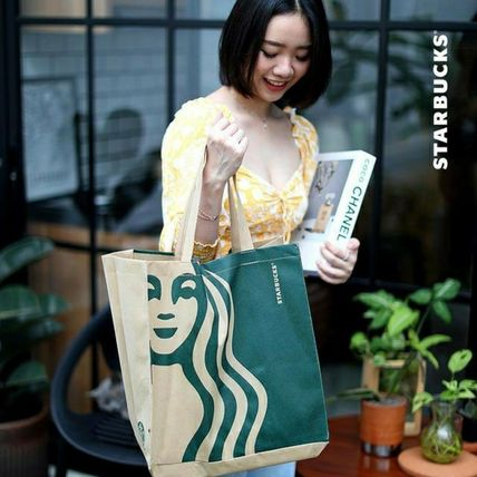 Casual Style Unisex Street Style A4 Office Style Logo Totes
