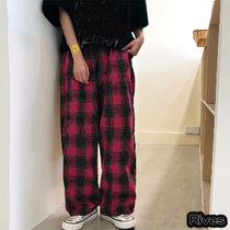 Printed Pants Other Plaid Patterns Unisex Street Style