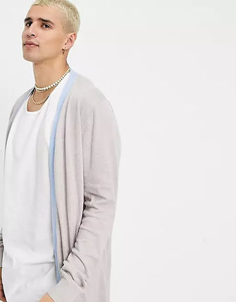 ASOS Cardigans Asos Design Knitted Cardigan With Contrast Trims In Stone 3