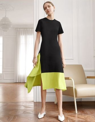 Crew Neck Casual Style Maxi A-line Nylon Flared Street Style