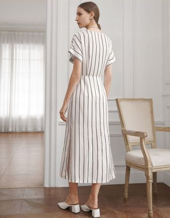 Wrap Dresses Stripes Casual Style Tight Maxi Linen Flared