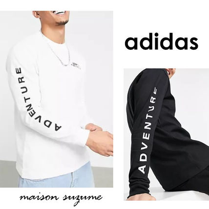 adidas Long Sleeve Crew Neck Pullovers Street Style Long Sleeves Cotton