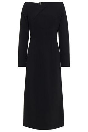 Casual Style Tight Maxi A-line Wool Flared Boat Neck Plain