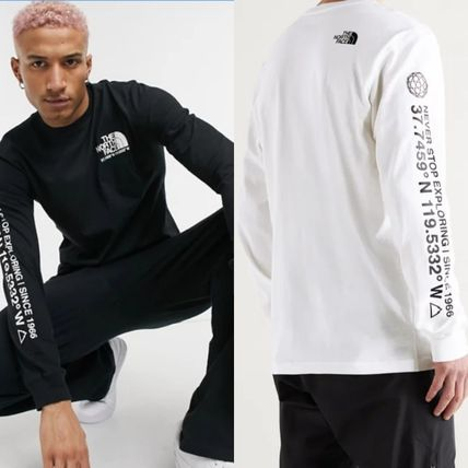 THE NORTH FACE Long Sleeve Sweat Long Sleeves Plain Cotton Logos on the Sleeves