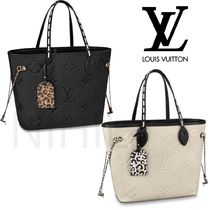 Louis Vuitton NEVERFULL Leopard Patterns Casual Style Leather Office Style
