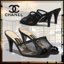 CHANEL Casual Style Blended Fabrics Plain Block Heels Party Style
