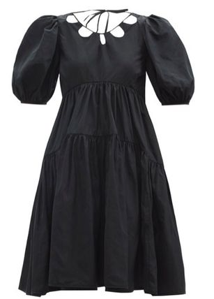 CECILIE BAHNSEN Wrap Dresses Casual Style Flared Plain Long Short Sleeves