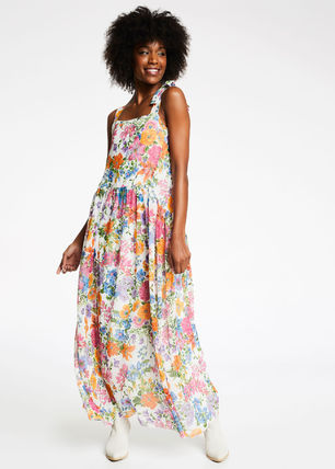 Flower Patterns Casual Style Maxi Sleeveless Flared Long