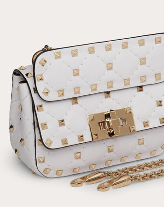 VALENTINO Studded Chain Leather Party Style Elegant Style Crossbody