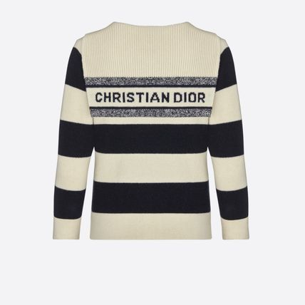 Christian Dior Stripes Wool Cashmere Long Sleeves Medium Cashmere