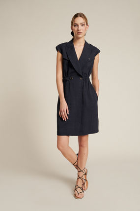 Wrap Dresses Short Casual Style Tight Linen V-Neck Plain