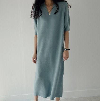 Casual Style V-Neck Plain Long Short Sleeves Office Style