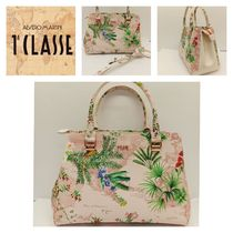 PRIMA CLASSE Flower Patterns Casual Style Blended Fabrics 2WAY Leather