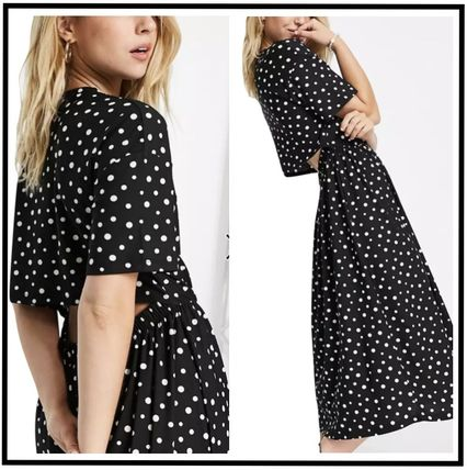 Wednesday Dresses Dots Casual Style Street Style Long Short Sleeves