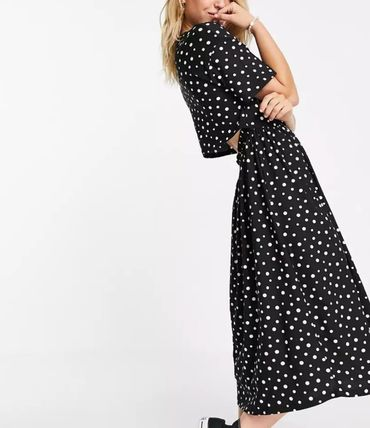 Dots Casual Style Street Style Long Short Sleeves