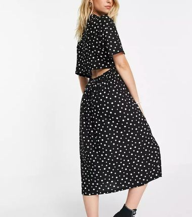 Wednesday Dresses Dots Casual Style Street Style Long Short Sleeves 3