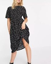Wednesday Dresses Dots Casual Style Street Style Long Short Sleeves 5