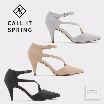 Call It Spring Pointed Toe Casual Style Faux Fur Blended Fabrics Plain Pin Heels