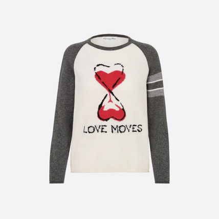 Christian Dior Heart Casual Style Cashmere Street Style Long Sleeves Plain
