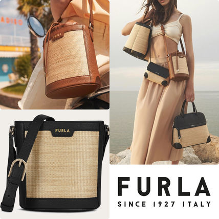 FURLA Bucket Bags Casual Style 2WAY Plain Party Style Purses Elegant Style
