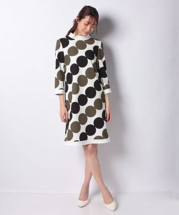 pierre cardin Dots Casual Style A-line Flared Street Style Cropped Plain