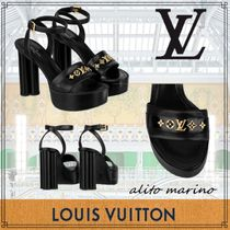 Louis Vuitton MONOGRAM Open Toe Studded Leather Chunky Heels Mules Bridal Logo