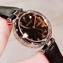 GUCCI Leather Round Quartz Watches Stainless Analog Watches