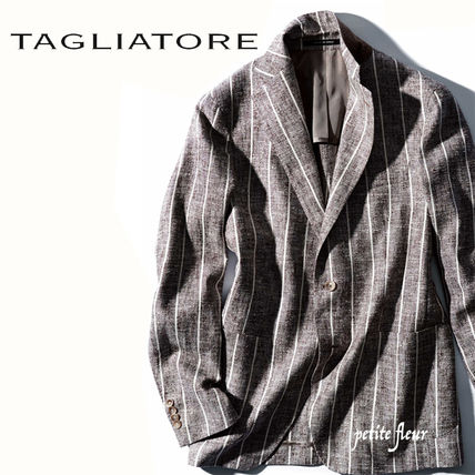 Short Stripes Wool Nylon Blazers Jackets