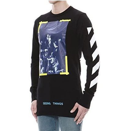 Off-White Long Sleeve Crew Neck Pullovers Unisex Street Style Long Sleeves Plain 2