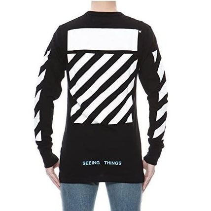 Off-White Long Sleeve Crew Neck Pullovers Unisex Street Style Long Sleeves Plain 3