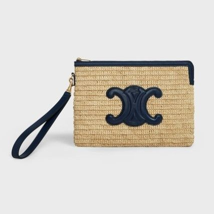 CELINE Small Pouch With Strap In Raffia And Calfskin