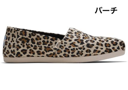 Leopard Patterns Plain Toe Casual Style Blended Fabrics