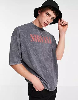 ASOS More T-Shirts Asos Design Oversized T-Shirt With Nirvana Print In Charcoal 2