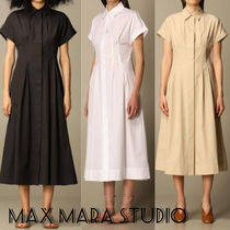 Max Mara Studio Casual Style A-line Plain Cotton Short Sleeves Office Style