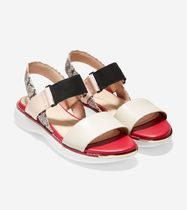 Cole Haan Rubber Sole Casual Style Plain Leather Sport Sandals Python