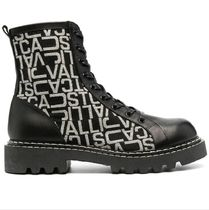Just Cavalli Monogram Round Toe Rubber Sole Casual Style Leather