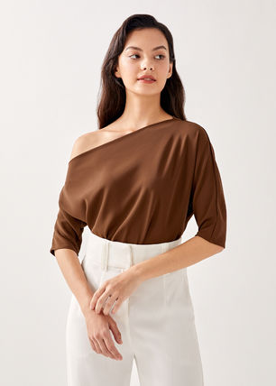 Love Bonito Off The Shoulder Casual Style Cropped Plain Medium Short Sleeves Party Style 2