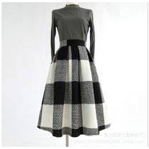 Flared Skirts Other Plaid Patterns Casual Style Wool Medium
