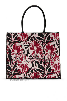 Flower Patterns Casual Style A4 Logo Totes