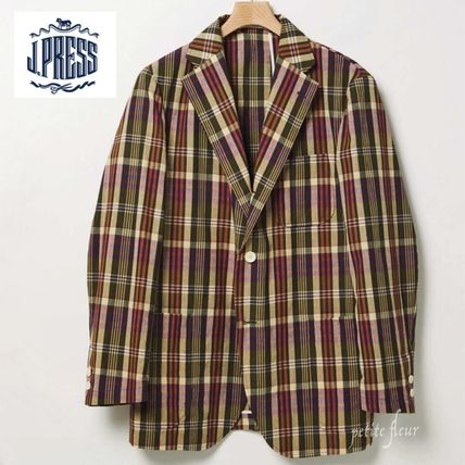 Short Other Plaid Patterns Front Button Blazers Jackets