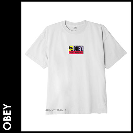 OBEY Crew Neck Crew Neck Pullovers Unisex Street Style Cotton Short Sleeves