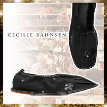 CECILIE BAHNSEN Round Toe With Jewels Elegant Style Flats