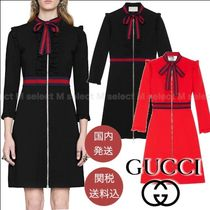 GUCCI Stripes Casual Style A-line Long Sleeves Plain Party Style