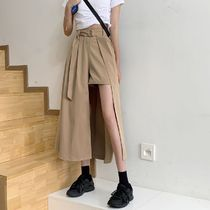 Flared Skirts Short Casual Style Plain Long Asymmetry