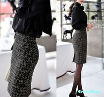 Pencil Skirts Other Plaid Patterns Medium Office Style